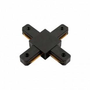 Коннектор для шинопровода Х-образный однофазный черный General, 580933