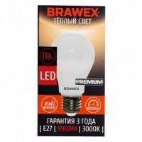 Лампа светодиодная Brawex (грушевидная матовая) 11Вт., Тёплый белый свет, цоколь Е27, А-01