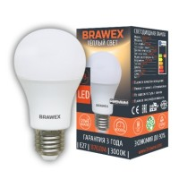 Лампа светодиодная Brawex (грушевидная матовая) 13Вт., Тёплый белый свет, цоколь Е27, А-03