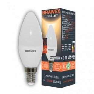 Лампа светодиодная Brawex (свеча матовая) 7Вт., Теплый белый свет, цоколь Е14, С-01