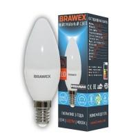Лампа светодиодная Brawex (свеча матовая) 7Вт., Нейтральный белый свет, цоколь Е14, С-02
