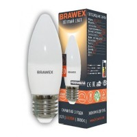 Лампа светодиодная Brawex (свеча матовая) 7Вт., Теплый белый свет, цоколь Е27, С-03