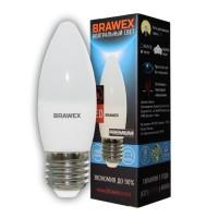 Лампа светодиодная Brawex (свеча матовая) 7Вт., Нейтральный белый свет, цоколь Е27, С-04