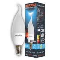 Лампа светодиодная Brawex (свеча на ветру матовая) 7Вт., Нейтральный белый свет, цоколь Е14, С-06