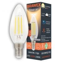 Лампа светодиодная филаментная Brawex (свеча) 5Вт., Тёплый белый свет, цоколь Е14, Ф-01