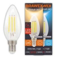 Лампа светодиодная филаментная Brawex (свеча) 5Вт., Нейтральный белый свет, цоколь Е14, Ф-02