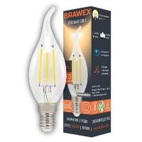 Лампа светодиодная филаментная Brawex (свеча на ветру) 5Вт., Тёплый белый свет, цоколь Е14, Ф-03