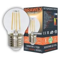 Лампа светодиодная филаментная Brawex (шарик) 5Вт., Тёплый белый свет, цоколь Е27, Ф-05