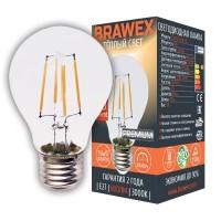 Лампа светодиодная филаментная Brawex (грушевидная) 8Вт., Тёплый белый свет, цоколь Е27, Ф-07
