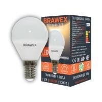 Лампа светодиодная Brawex (шарик матовый) 7Вт., Теплый белый свет, цоколь Е14, Г-01