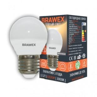 Лампа светодиодная Brawex (шарик матовый) 7Вт., Теплый белый свет, цоколь Е27, Г-03