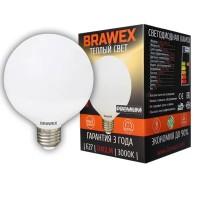 Лампа светодиодная Brawex (глоб G95 матовый) 12Вт., Теплый белый свет, цоколь Е27, Г-05