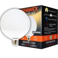 Лампа светодиодная Brawex (глоб G120 матовый) 15Вт., Теплый белый свет, цоколь Е27, Г-07