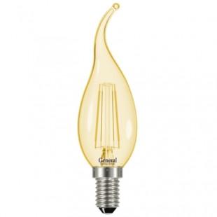 Лампа светодиодная филаментная General (свеча на ветру золотая) 7Вт., Тёплый белый свет, цоколь Е14, 647300