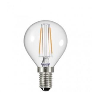 Лампа светодиодная филаментная General (шарик) 6Вт., Нейтральный белый свет, цоколь Е14, 647500