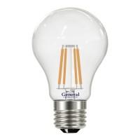 Лампа светодиодная филаментная General (грушевидная) 8Вт., Холодный белый свет, цоколь Е27, 649200