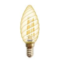 Лампа светодиодная филаментная General (свеча витая золотая) 7Вт.,Тёплый белый свет, цоколь Е14, 649989