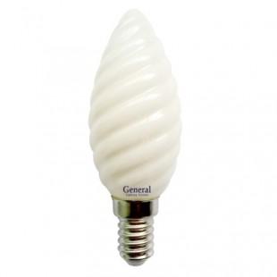 Лампа светодиодная филаментная General (свеча витая матовая) 7Вт.,Тёплый белый свет, цоколь Е14, 654800