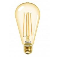Лампа светодиодная филаментная General (декоративная золотая) 8Вт., Тёплый белый свет, цоколь Е27, 655301