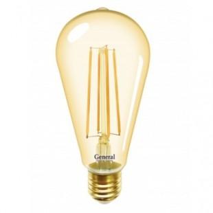 Лампа светодиодная филаментная General (декоративная золотая) 10Вт., Тёплый белый свет, цоколь Е27, 655302