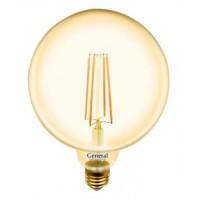 Лампа светодиодная филаментная General (глоб G125 золотой) 10Вт., Тёплый белый свет, цоколь Е27, 655310