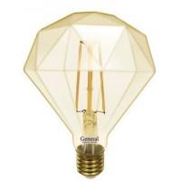 Лампа светодиодная филаментная General (декоративная золотая) 10Вт., Тёплый белый свет, цоколь Е27, 655319