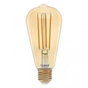 Лампа светодиодная филаментная диммируемая золотая General (грушевидная) 13Вт., Тёплый белый свет, цоколь Е27, 686900